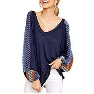 Tops - Navy blue waffle top with soft balloon sleeve boho
